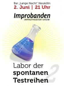 Impro-Show in Berlin Neukölln: Labor der spontanen Testreihen - nächste Show: 2. Juni, 21 Uhr, Lange Nacht, Eintritt frei
